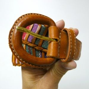 Accessories - rainbow woven fabric and leather belt . medium
